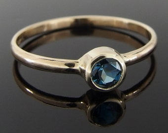 London Blue Topaz and 14k Yellow Gold Ring, London Blue Topaz and Gold Ring, Blue Gemstone Ring, December Birthstone