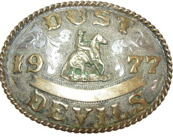 Sterling Silver King Belt Buckle Vintage Mens Dust Devils 1977 Solid Sterling 77.3 Grams Cowboy Western Trophy Buckle with Gold Accents -