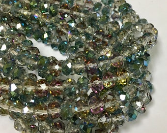 Green AB Chinese Crystal Beads, 8X5mm, 8 inch Strand, Crystal, Beads for Jewelry Making, Rondelle Crystals
