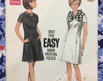 Butterick 4740 COMPLETE vintage pattern A line dress Size 16/38