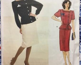 Vogue 1330 UNCUT vintage pattern Size 10 Top & Skirt 1980s Vogue American Designer Adele Simpson