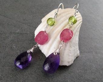 Amethyst, peridot and pink sapphire earrings, handmade sterling silver earrings-OOAK