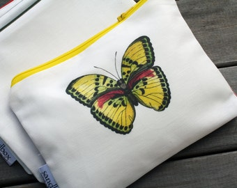 NEW! Yellow Butterfly Print Clutch Bag with Teal Zipper Zippered Pouch or Cosmetic Toiletry Bag - Sandbox Original Print