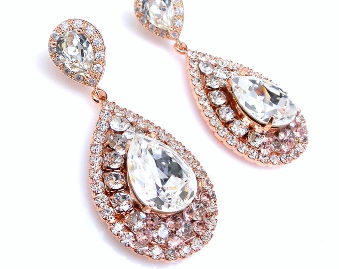 wedding jewelry bridal earrings gift prom bridesmaid Clear white stone deco rose gold vintage style swarovski clear crystal teardrop post
