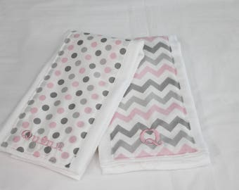 Personalized Pink and Grey Chevron and Dots Baby Burp Cloths - Set of 2 - color can be customized