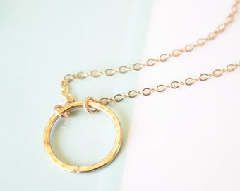 Hammered infinity gold fill necklace - circle pendant