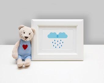 Framed Nursery Art, Framed Art, Rain Clouds Nursery Art, Rain Drops, Cloud, Baby Boy, Babies Room Decor, Gift For New Mom, Trending Now,