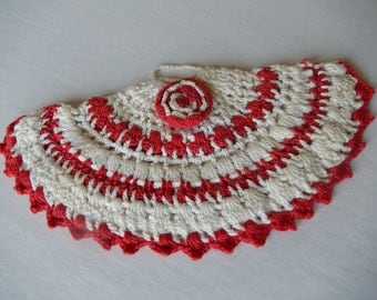 Crochet Pot Holder Vintage Home Decor Red and White Kitchen Hot Pad