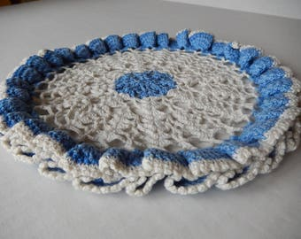 Vintage Doily Romantic Blue Cottage Style Hand Crochet Kitchen Home Decor