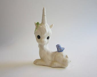 vintage unicorn figurine - as is - wee unicorn with bluebird
