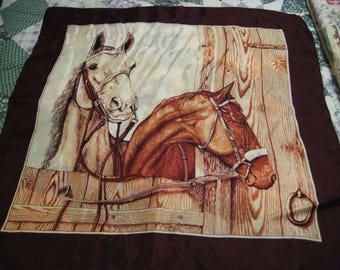 Vintage Horse Scarf-large square, in excellent condition-sale
