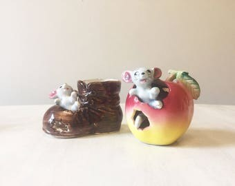 Vintage mouse ornament, mice figurines, vintage ornament, mouse figurine, mouse collectible, mice ornaments, mice collectibles, china mouse