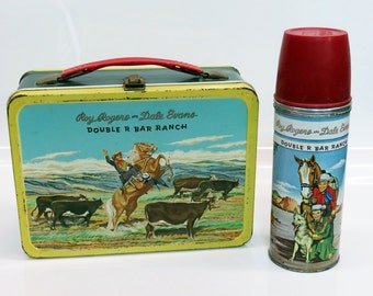 1950s Roy Rogers and Dale Evans Double R Bar Ranch Metal Lunch Box and Thermos American Thermos Bottle Co