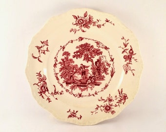 Red and White Ironstone Plate / French Country Mason's Watteau Pattern Plate