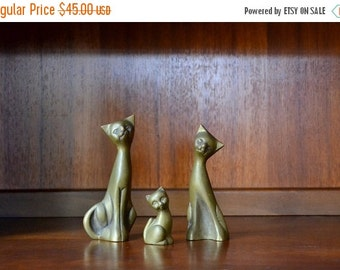 SALE 25% OFF vintage brass cat family figurines
