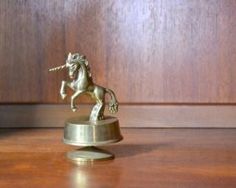 vintage brass unicorn music box / nursery home decor / brass metal unicorn