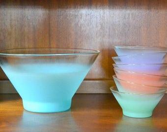 vintage west virginia glass pastel blendo salad bowl set / spring home decor / easter pastel