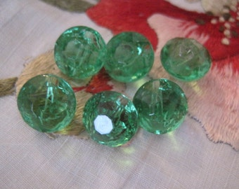 Vintage Lot of 6 Green Glass Buttons Dolls