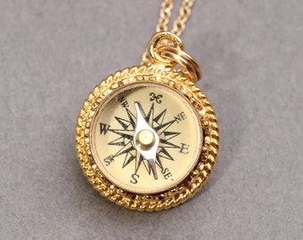 Gold Compass Necklace Working Compass Necklace Mens Compass Necklace