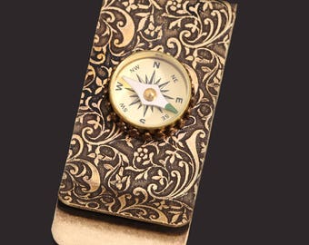 Brass Money Clip Money Clip Men Steampunk Men Working Compass