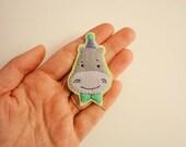 Reserved listing - hippo felt brooch