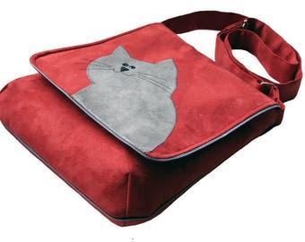 Eco Suede Vegan Bag, Flap Cover Bag, Adjustable Strap, Crazy Cat Lady, Red Cat Themed Crossbody Bag, Cat Mom Bag Flap, Authors OOAK Bag