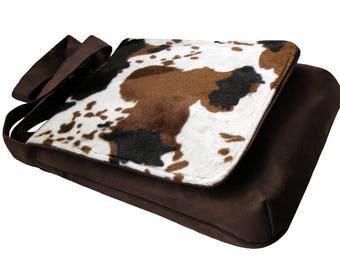 Original Bag with Brown Cow Flap, One Of A Kind Messenger Bag, Crossbody Bag, Eco Suede Vegan Bag, Flap Cover Bag, Adjustable Strap