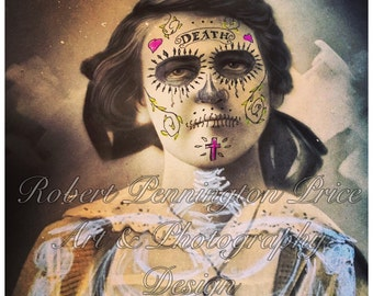 Day of the Dead / Sugar Skull Lady / Altered Art Photography/ Mixed Media Painting / Victorian Death Mask  / Robert Price