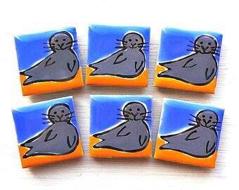 Seal Magnet, Fridge Magnet, Seaside, Stationary Magnets, Gift for Teacher, Refrigerator Magnet