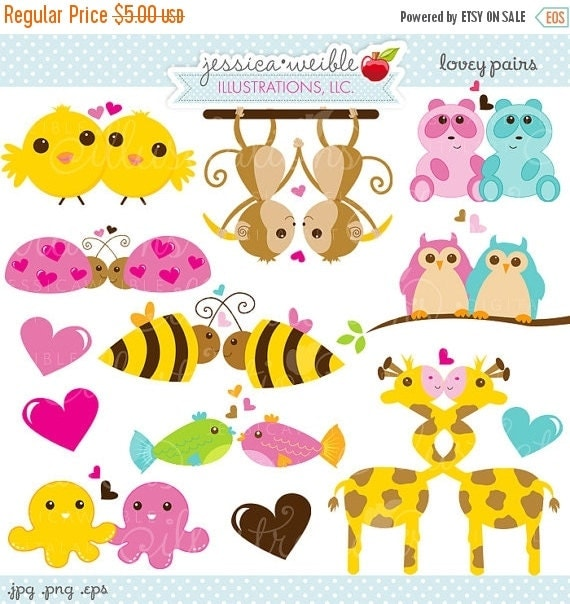 ON SALE Lovey Pairs Cute Digital Clipart - Commercial Use OK - Cute Valentine Clipart, Valentine Graphics, Animal Pair