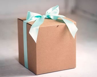 20- 8x8x8.5 inch Kraft Gift Boxes -Kraft Pinstripe or Solid Surface-  Great for balloon announcements!!!