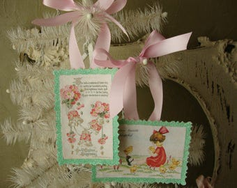 easter ornaments glittered tags cute victorian girl chicks flowers pink and mint green glittered gift tag ornaments shabby cottage chic