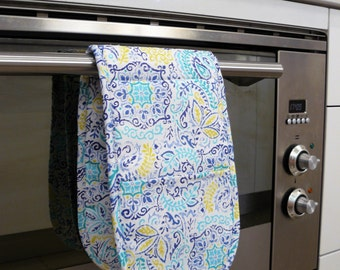 Double Oven Mitt - pretty moroccan blue navy blue and lemon