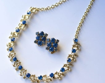 Gold Necklace and Earrings, Blue Rhinestone  Vintage Necklace, Blue Earrings