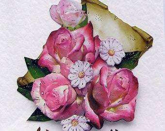 Pink Roses Hand Crafted 3D Decoupage Card, Blank for any Occasion (2057), Layered Card, Birthday Card, Get Well Card, Mom Card, Sister Card