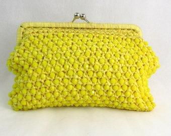 Vintage 1960s Yellow Beaded Crochet Clutch Le Jule Hong Kong