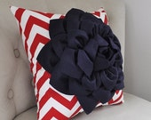 SALE American Navy Blue Dahlia on Red and White Zigzag Pillow -Chevron Pillow-  Red White and Blue Memorial Day Fourth of July Labor Day Dec