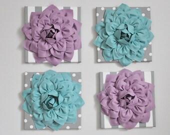 Home Decor Wall Art, Purple and Dusty Blue Flower Burst Art,Grey Decor,Bathroom Wall Decor, Purple Bedroom Decor, Nursery Wall Art - Girl
