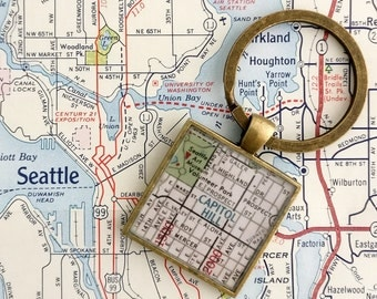 Capitol Hill Seattle vintage map keychain | geography gift | key ring