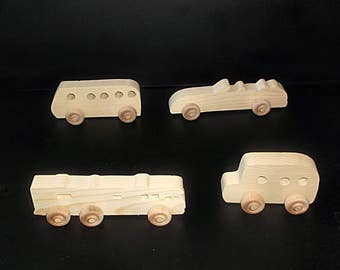 4 Handcrafted Wood Toy Buses,  Car, Motor Home OT-11  unfinished or finished