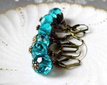 Teal Earrings Turquoise Crystal Earrings Aqua Boho Earrings Blue Dangles Bridal Earrings Bridesmaid Wedding Jewelry Vintage Style Brass Leaf