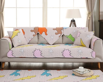 Animal World Sofa Cover Couch Slipcover Loveseat Cover Cotton Apricot Pink Orange Green Home Decor