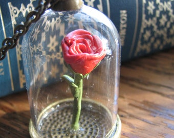 Red rose necklace | terrarium pendant | miniature plant | flower | romantic gifts | nature inspired | for her