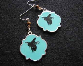Bee earrings | blue dangle | enamel | moroccan tile | silver | tigers eye stone | bohemian earrings | boho