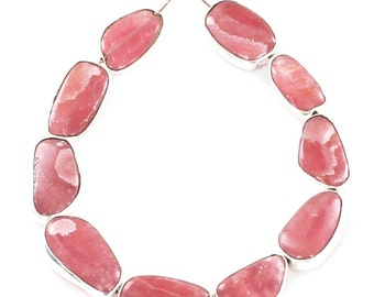 RHODOCHROSITE BEADS Sterling Silver Rimmed 8Pcs NewWorldGems
