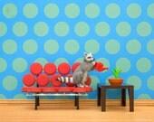 Polka dot mid century modern wall art print with raccoon: Circles of Life