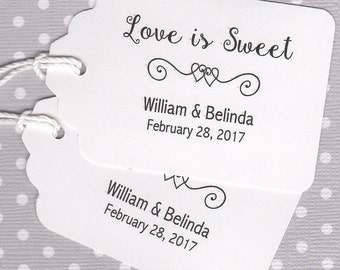 Wedding Tags, Wedding Favor Gift Tags, Shower Gift Tags, Love Is Sweet Thank You Favor Gift Tags, Honey Candy Jam Cookie Jar Label Tags