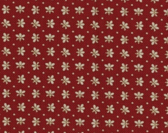 In Stitches from Maywood Studios - Full or Half Yard Cream Fleur de Lis on Red