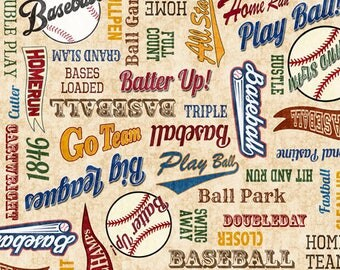 Grand Slam from Quilting Treasures - Full or Half Yard Baseball Terminology on Tan