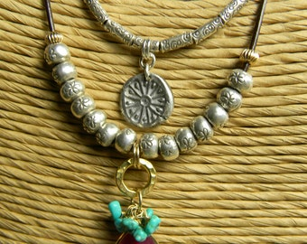 Boho Southwestern Jewelry Ruby Pendant Necklace Turquoise Hill Tribe Sterling Silver Gold Filled Red